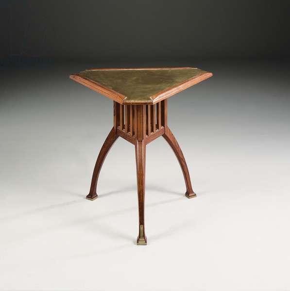 Side table, 1903 (oak & brass)