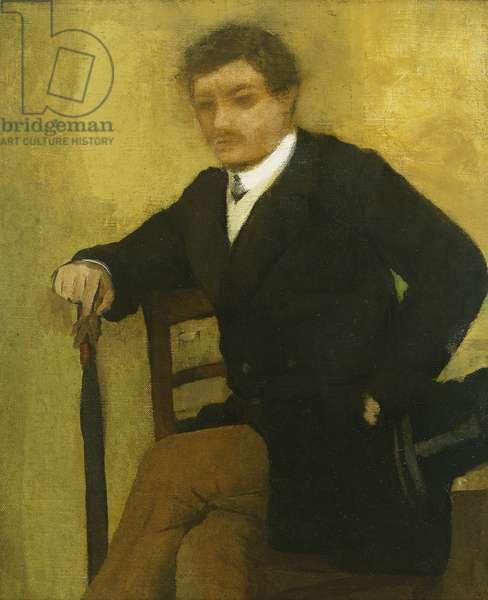 Young Man sitting with Jacket and Umbrella; Jeune Homme assis a la Jacquette et au Parapluie, c.1864-1868 (oil on canvas)