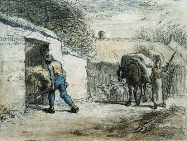 The Return from the Field (w/c over black chalk on laid paper)
