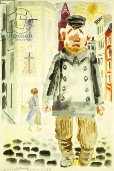 A Berlin Road Sweeper; Berliner Strassenkehrer, 1931 (watercolour on paper)