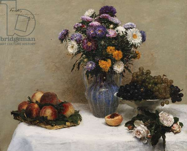 White Roses and Chrysanthemums in a Vase -Peaches and Grapes on a Table with a White Tablecloth; Roses blanches, Chrysanthemes dans une Vase - Peches et Raisins sur une Table a la Nappe blanche, 1876 (oil on canvas)