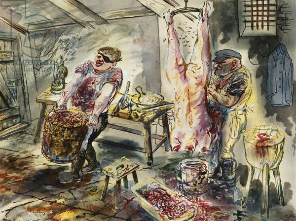 The Butcher; Die Schlachter, 1930 (gouache, watercolour, brush and black ink on paper)
