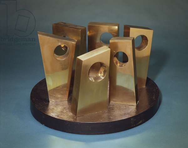 Six Forms on a Circle, 1967 (polished bronze mounted on a base with brown patina)