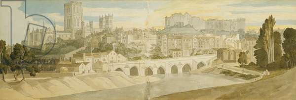 Durham Cathedral and Castle from the River Wear, 1811 (pencil, pen and grey ink and watercolour on two joined sheets)