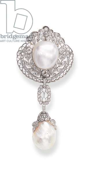 A Belle Epoque pendant brooch designed as an openwork rose, by Black, Starr & Frost (pearl & diamond)