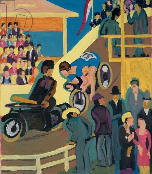 Bicycle Race with Motor Relay; Radrennen mit Motorvorspann, 1927-1928 (oil on canvas)