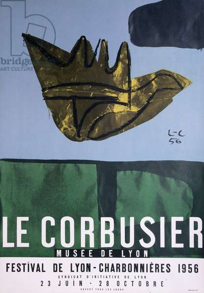 A poster for the Le Corbusier exhibition at the 1956 Festival de Lyon Charbonnieres, 1956 (offset colour lithograph)