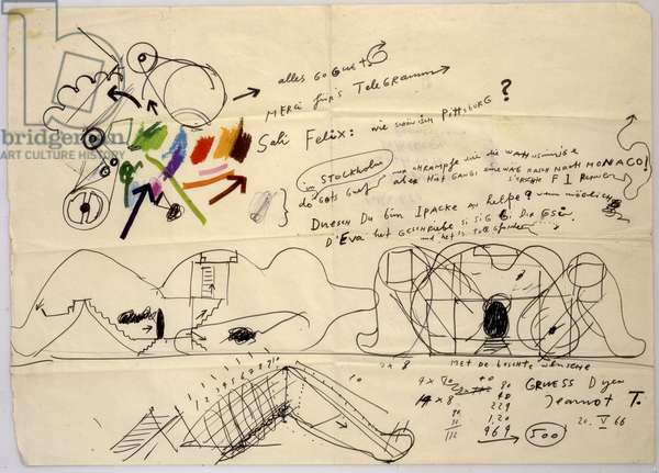 Untitled, letter to Felix Leu, 1966 (felt tip pen & crayon on paper)