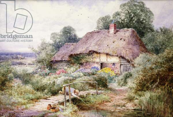 Catching Tiddlers at Eastbury, Berkshire, (pencil and watercolour on card)