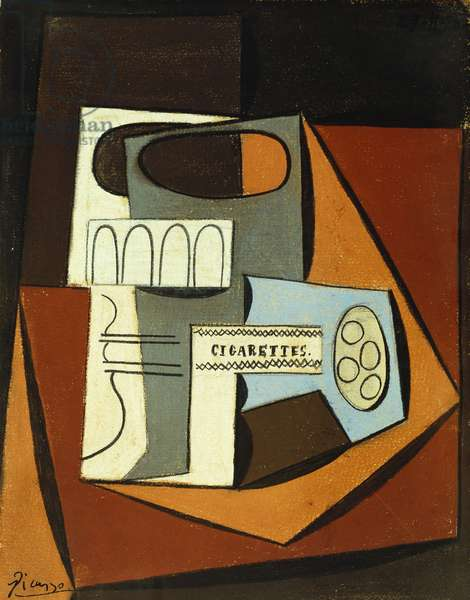 Still life with a glass and a packet of cigarettes, 1920 (gouache, pastel & pencil on paper laid down on board)