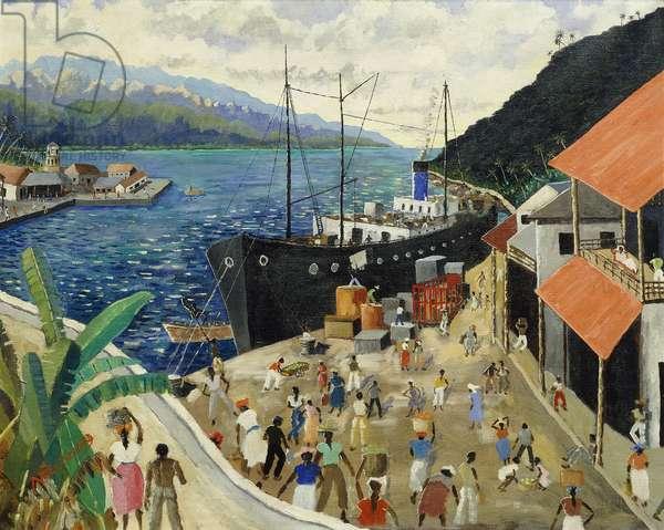 Loading a Cargo Ship, Jamaica, (oil on canvas)