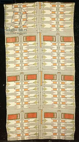 Design No. 105 - a linen panel with geometric pattern, designed by Frank Lloyd Wright for F.Schumacher and C, c.1955 (linen)