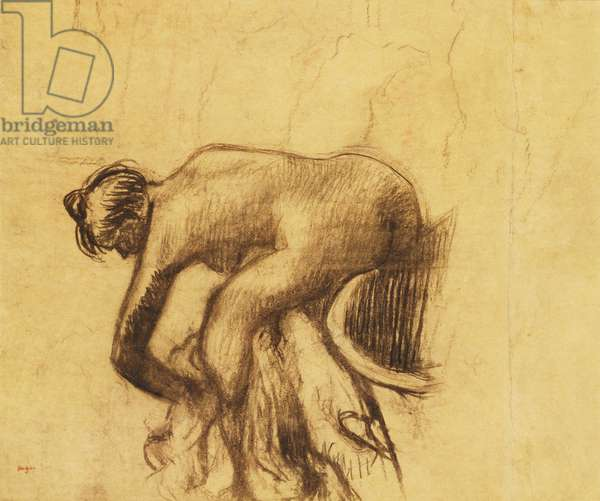 After the Bath, Woman drying herself, 1890's (charcoal with traces of red chalk on buff paper laid down on boa)