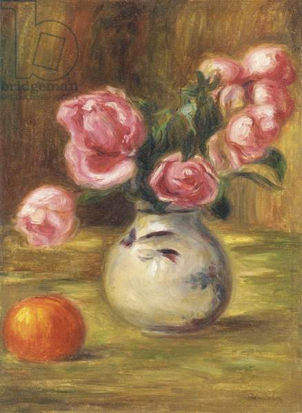 Vase of Roses and an Orange, 1910 (oil on canvas)