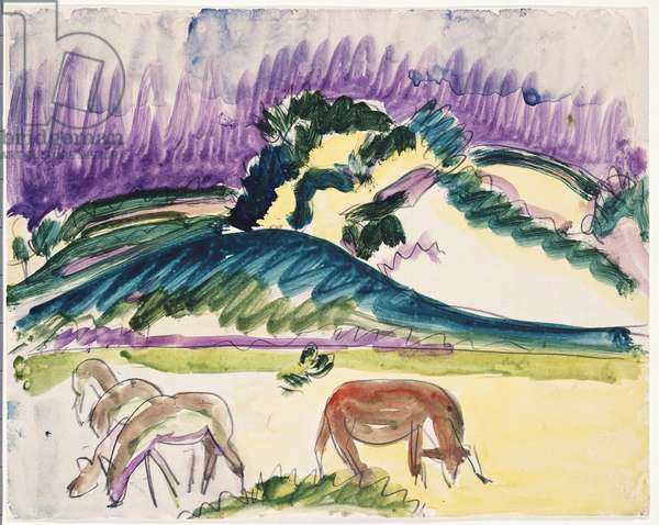 Cows in the Pasture by the Dunes, 1913 (w/c over pencil on paper)