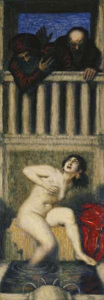 Susanna and the Two Old Men; Susanna und die Beiden Alten,  (oil on panel)