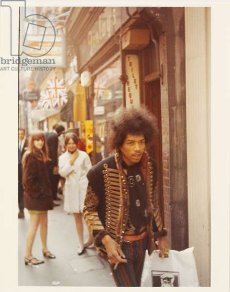 Jimi Hendrix walking down Carnaby Street, London, June 1967 (colour chromogenic print)