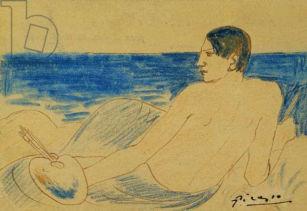 The Artist Nude by the Seaside; L'Artiste Nu au Bord de la Mer, 1902 (coloured wax crayons and pen and brown ink on board)