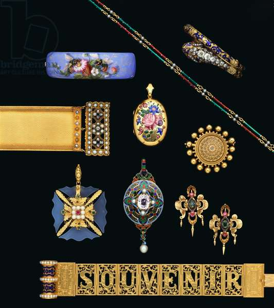 A selection of Victorian diamond, gold and enamel jewellery (diamond, gold, enamel)