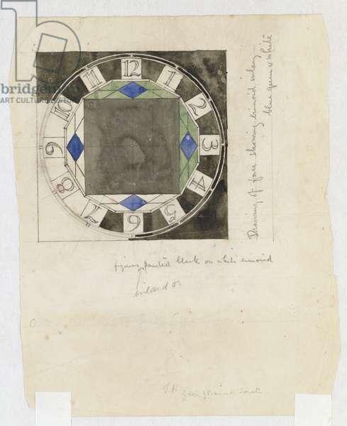Design for a clock face, for W.J. Bassett-Lowke, 1917 (pencil & w/c)
