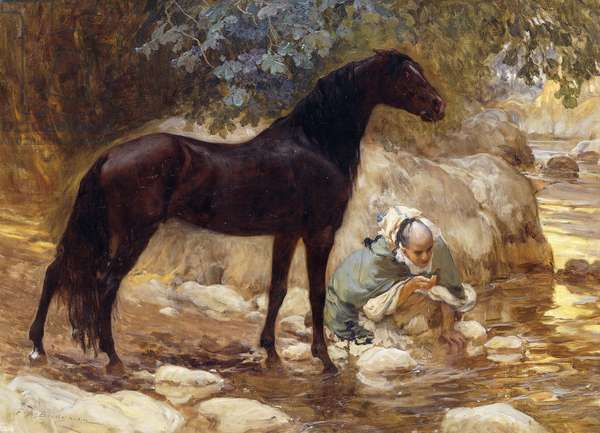 An Arab watering his Horse by a River, c.1890-1900 (oil on canvas)