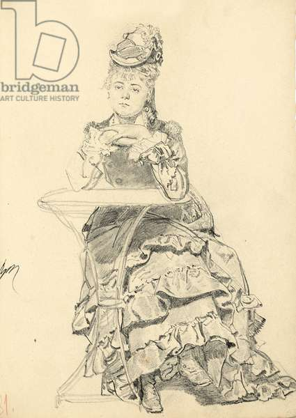Woman Seated at a Cafe Table, c. 1872-1875 (pencil on paper)
