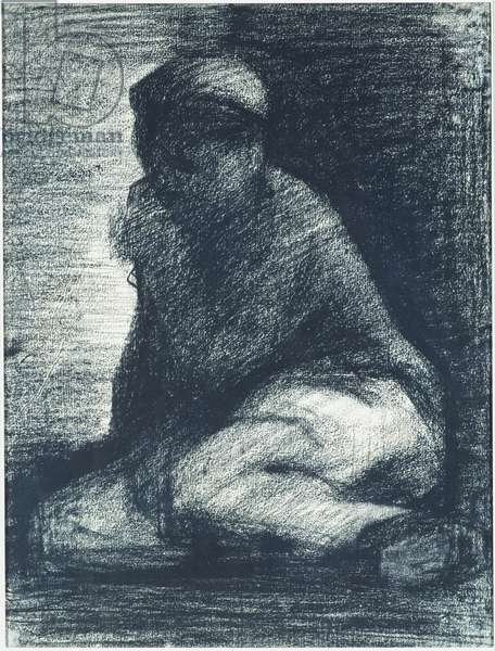 A Young Man Crouching, c.1882 (crayon on paper)