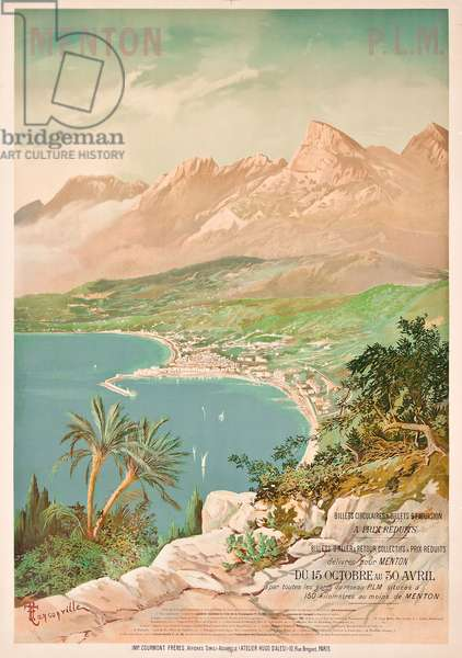 Poster advertising Menton, France (colour litho)