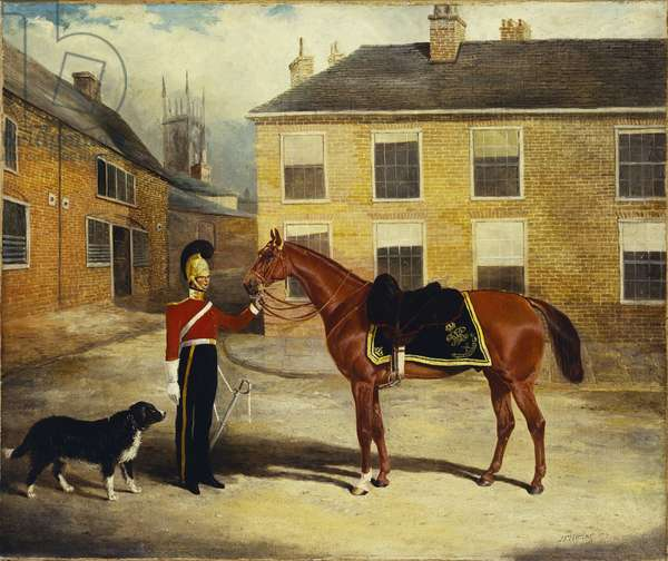An Officer of the Dragoon Guards, Caribineers with his Mount in the Barrack's Stable Yard, 1839 (oil on canvas)