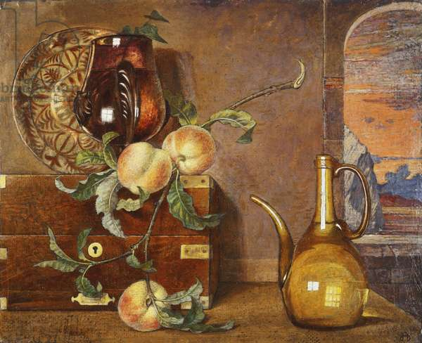 Peaches and Glass, c.1925 (tempera on panel)