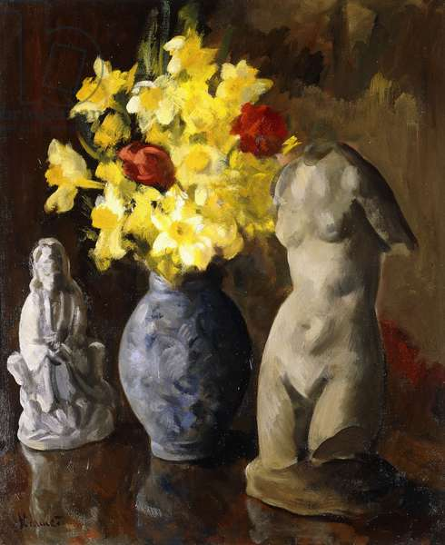 Still Life with Daffodils, a Buddha and a Torso, (oil on canvasboard)