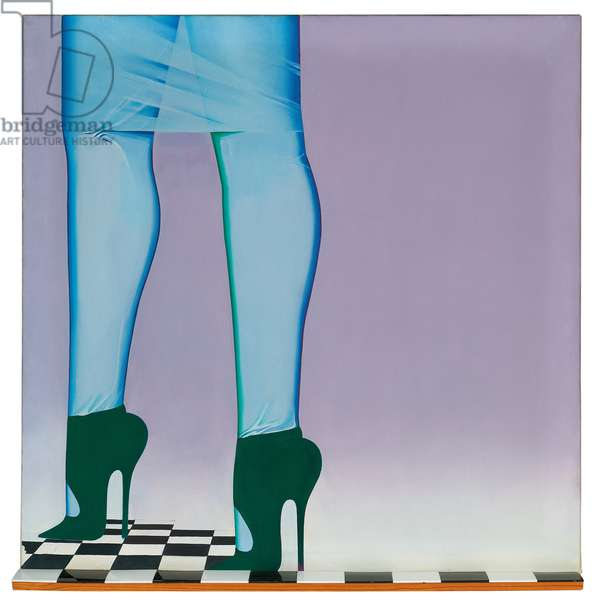 A Step in the Right Direction, 1966 (oil on canvas & plastic tiles mounted on panel)