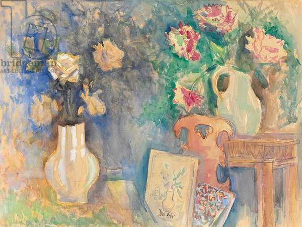 Flowers in an Interior; Interieur fleuri, c.1922-1924 (gouache and watercolour on paper)