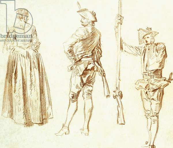 Study of a young Woman and two Huntsmen, c.1712-13 (red chalk on paper)