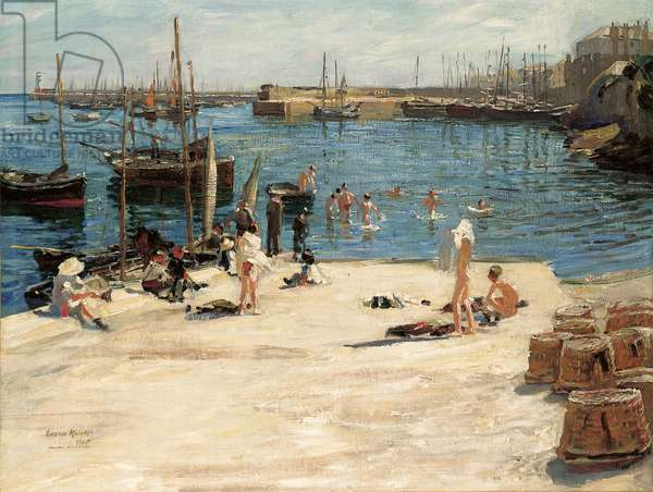 Boys Bathing, Newlyn Quay, 1910 (oil on canvas)