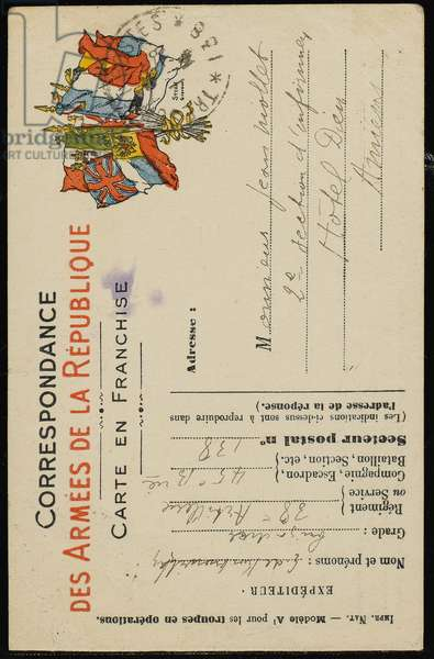 Autograph postcard to Jean Mollet, July 31, 1915 (pen & ink on postcard)