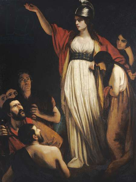 Boadicea haranguing the Britons (oil on canvas)