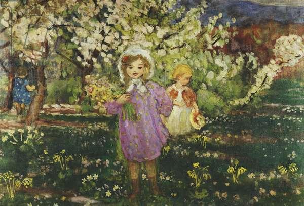 Children in an Orchard in Blossom; Les Enfants un Verger en Fleurs, 1914 (oil on canvas)