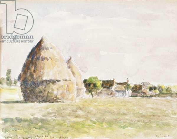 Haystack, Eragny Evening; La Meule de Foin, Soir Eragny, 1889 (watercolour on paper)