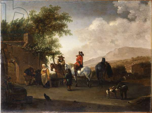 Travellers on horseback taking refreshment on a mountain pass, in an Italianate landscape (oil on panel)