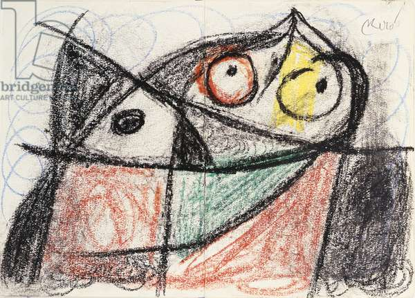 Composition, 1977 (black & coloured wax crayon on paper)