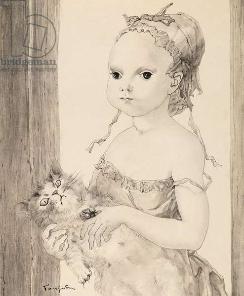 Young Girl with a Cat; Jeune Fille au Chat, (grey wash on paper)