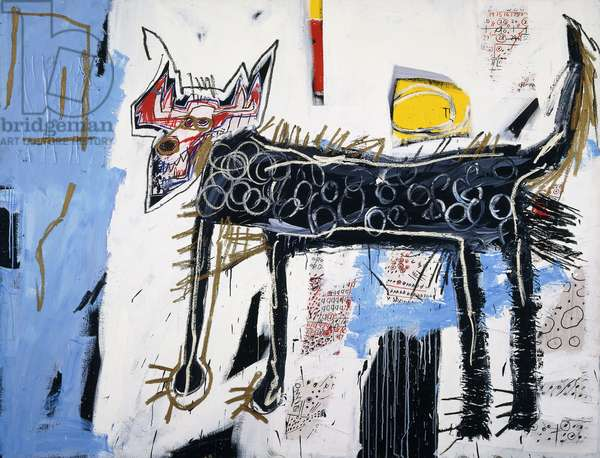 Part Wolf, 1982 (acrylic, coloured oilsticks and paper collage on canvas)