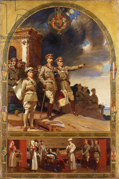 H.M. King George V, Field Marshal Sir Douglas Haig and the Prince of Wales at Kemmel Hill overlooking Wytschaete and Messines Ridge and Queen Mary visiting a war hospital, 1918 (oil on canvas)