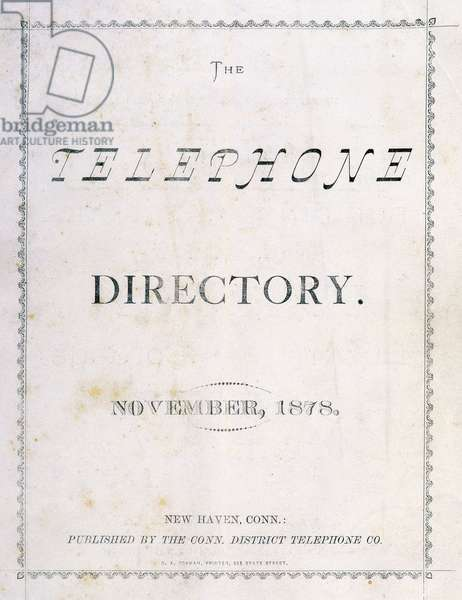 Front cover of 'The Telephone Directory' of November 1878, 1878 (paper, print, metal ring, stiching)