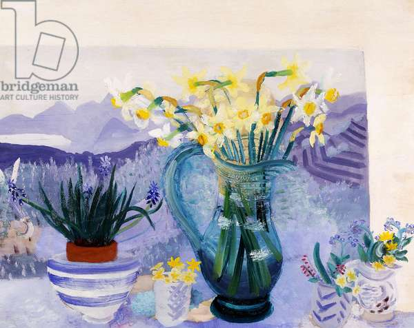 Recollections, a Jug of Daffodils and smaller Vases with other Flowers by an open Window,  (oil on panel)