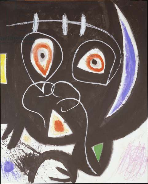 Figure with a Blue Crescent, 1974 (gouache, w/c, wax crayon & black ink on paper)