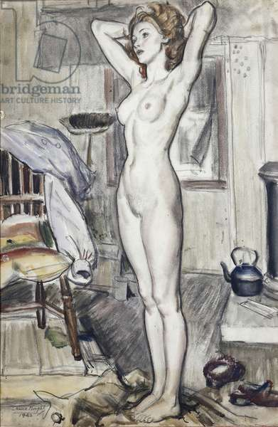 Standing Female Nude, 1942 (pencil, w/c & bodycolour on paper)