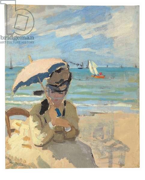 Camille assise sur la plage à Trouville, 1870-71 (oil on canvas)