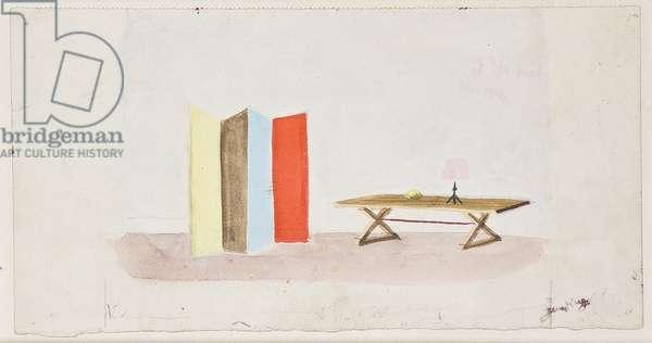Trois Gouaches: Table et paravent de Jean-Michel Frank et lampe d'Alberto Giacometti (gouache on paper)
